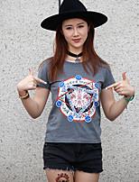WOWTEE Women's Round Neck Short Sleeve T Shirt Gray / Pink-WT-TX025-2