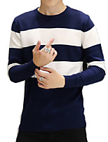 Men's Color Block Casual / Sport PulloverCotton Long Sleeve Black / Blue / White
