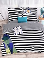 edtoppings Comforter Duvet Quilt Cover 4pcs Set Queen Size Flat Sheet Pillowcase Black Stripe Prints Microfiber Fabric