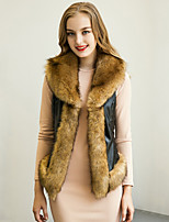 Women's Plus Size / Casual/Daily Simple Fur CoatPatchwork Shirt Collar Sleeveless Winter Brown Faux Fur / PU Thick