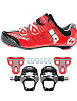 SD003 Cycling Shoes Road Bike Sneakers Damping / Cushioning Red/Black-sidebike And WeigeR251 Rock Pedals