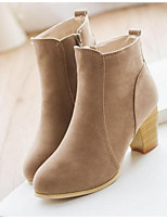 Women's Boots Fall Winter PU Outdoor Chunky Heel Others Black Red Beige Other