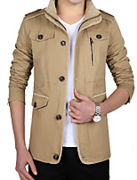 Men's Long Sleeve Casual / Work Jacket Coat Cotton / Polyester Solid Regular Sipper / Single Breasted Outerwear