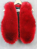 Women's Plus Size / Casual/Daily /Cocktail Sexy / Simple Fur Coat,Solid V Neck Sleeveless Fall / Winter Red /