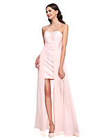 2017 Lanting Bride® Asymmetrical Chiffon / Lace Convertible Dress Bridesmaid Dress - Sweetheart with Sash