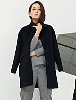 C+IMPRESS Women's Work Simple CoatSolid Peter Pan Collar Long Sleeve Winter Blue Wool / Acrylic / Polyester Medium