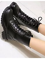 Women's Boots Spring Fall Winter Combat Boots PU Outdoor Chunky Heel Lace-up Black Others