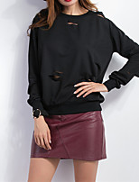 Women's Casual/Daily Vintage Regular HoodiesSolid Black Round Neck Long Sleeve Polyester All Seasons