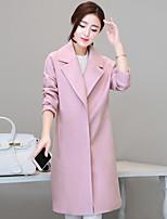 Mulheres Casaco Trabalho / Happy-Hour / Casual Simples / Moda de Rua / Sofisticado Outono / Inverno,Sólido Rosa Algodão Lapela Pontuda-