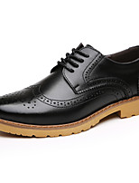 Men's Flats  Comfort / Round Toe / Closed Toe Casual Flat Heel Lace-up Black / Brown Walking