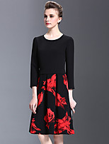 Women's Plus Size / Going out Street chic A Line DressFloral Round Neck Above Knee Long Polyester Fall Mid Rise