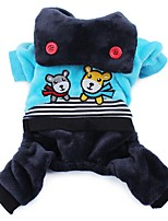 Dog Clothes/Jumpsuit Blue / Rose Dog Clothes Winter / Spring/Fall Cartoon Cute