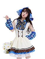 Costumes de Cosplay / Costume de Soirée Tenus de Servante Fête / Célébration Déguisement Halloween Blanc Mosaïque Robe / Boucle Halloween
