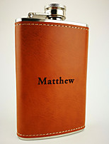Personalized Stainless Steel  Brown Leather Flask 5 oz  Hip Flasks