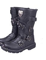 Черный-Мужской-Для прогулок-Кожа-На плоской подошве-Сапоги для верховой езды / Обувь в рабочем / военном стиле-Ботинки