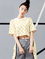 ROOM404  Women's Going out Vintage Summer T-shirtPolka Dot Crew Neck Short Sleeve Yellow Cotton Opaque