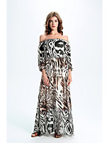 Women's Party/Cocktail Street chic Swing DressAnimal Print Strapless Maxi Long Sleeve White Silk Spring / Fall High Rise