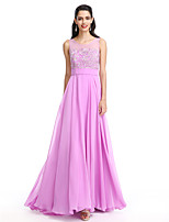 2017 Lanting Bride® Bridesmaid Dress - A-line Scoop Floor-length Chiffon With Appliques