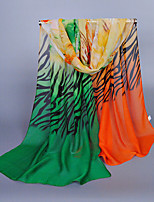 Women's Chiffon Zebra Stripe Print Scarf Green/Royal Blue/Orange/Blue