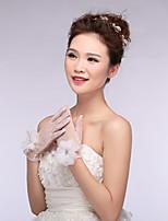 Wrist Length Fingertips Glove Lace Bridal Gloves Spring Floral