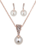 Elegant Luxury Design New Fashion 18k Rose Gold Plated Colorful  imitation pearl  Jewelry Sets Women Gift