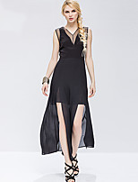 robe de swing sophistiqué des femmes adeast, solide col v maxi sans manches en coton noir