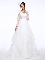 Lanting Bride® A-라인 웨딩 드레스 코트 트레인 보트넥 레이스 / 오간자 와 아플리케