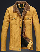 Men's Long Sleeve Casual JacketPU Solid Blue / Brown / Yellow