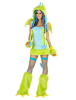 Cosplay Costumes / Party Costume Animal Festival/Holiday Halloween Costumes Green Solid Skirt / Dress / Gloves / More Accessories / Hat