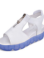 Women's Sandals Summer Sandals PU Casual Wedge Heel Zipper Blue / Green / Pink Others