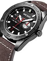 MEGIR Men's Black Leather Band Black/White Case 30M Water Resistant Noctilucent Dress Watch(Include Package)