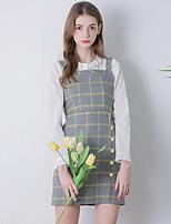 Damen Etuikleid Kleid-Ausgehen Retro Verziert Gurt Übers Knie Ärmellos Grau Polyester Herbst Hohe Hüfthöhe Unelastisch Mittel