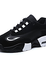 Women's Sneakers Spring / Fall Comfort / Round Toe PU Athletic Flat Heel Lace-up White / Black and White