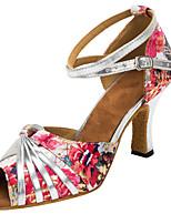 Customizable Women's Latin Ballroom Dance Shoes Satin Salsa Sandals Customized Heel Indoor / Performance Pink