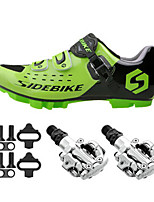 SD001 Cycling Shoes Unisex Outdoor / Mountain Bike Sneakers Damping / Cushioning Green-sidebike And PD-M520 Lock Pedals