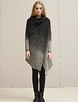 Rizhuo  Women's Going out / Casual/Daily Simple CoatColor Block Cowl Long Sleeve Winter Black Wool / Acrylic / Polyester