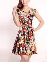 Brand Fashion Women's Vintage / Street chic Floral Plus Size / Sheath Dress,Round Neck Above Knee Cotton / Polyester