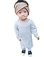 Girl's Casual/Daily Striped DressCotton / Rayon Spring / Fall Black / White