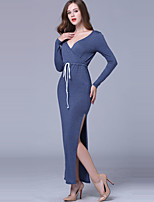 Women's Casual/Daily / Holiday Sexy / Simple Frenum Sheath DressSolid V Neck Maxi Long Sleeve Split  Mid Rise