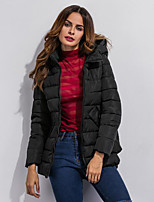 Women's Solid Black / Gray / Green Padded CoatStreet chic Hooded Long Sleeve