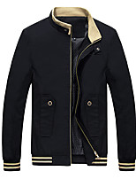 Мужской Хлопок Куртка На каждый день,Однотонный,Длинный рукав,Черный / Коричневый / Зеленый / Красный