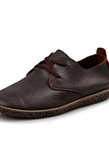 Men's Flats Fall / Winter Round Toe / Flats Leather Outdoor / Office & Career / Casual Flat Heel Others Black