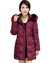 Fall Winter Going out Casual Plus Size Women's Jacket Solid Color Simple Joker Warm Long Section Padded Coat