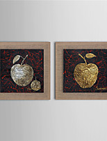 Modern Wall Art Pictures Abstract Fruit Golden Apple Oil Painting Hand-Painted On Linen Home Decoration With Frame
