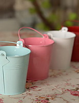 Mini Candy-Colored Tin Bucket Tin Flower Vase Home Decorative Wrought Iron Flower Pots Small Ornaments (Random Color)