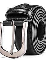 Men's Silver Belt Buckle Casual Pants Jeans Black Leather Waist Belt Straps