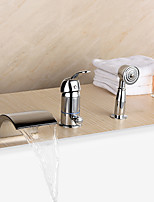 New Tub / Waterfall / Handshower Included with Ceramic Valve 1-Handle 3-Holes for Chrome  Bathtub Faucet
