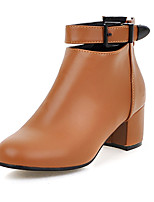 Women's Boots Spring / Fall / Winter Fashion Boots Leatherette / Casual Chunky Heel Buckle Black / Brown / Beige Others