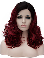 Wine red long curly hair and the wind nightclub performances Street color million with partial wig.