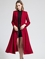 BORME Women's V Neck Long Sleeve Trench Coat Burgundy-Y068